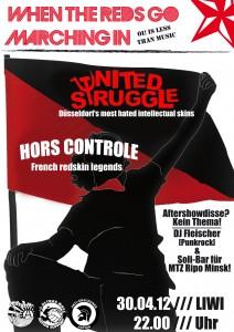 Flyer des Soli-Konzerts mit Hors Controle und United Struggle